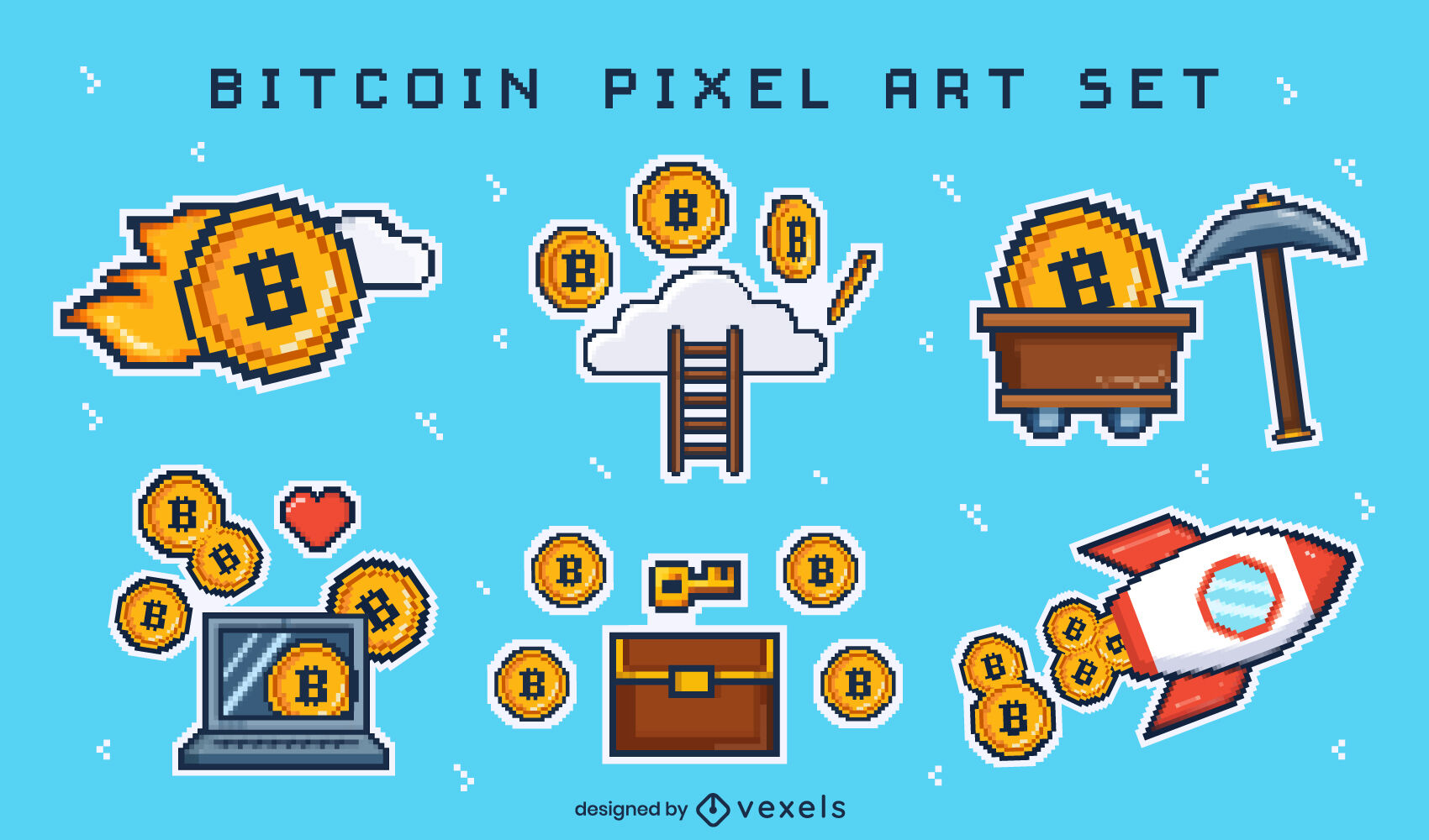 Elementos de pixel art Bitcoin