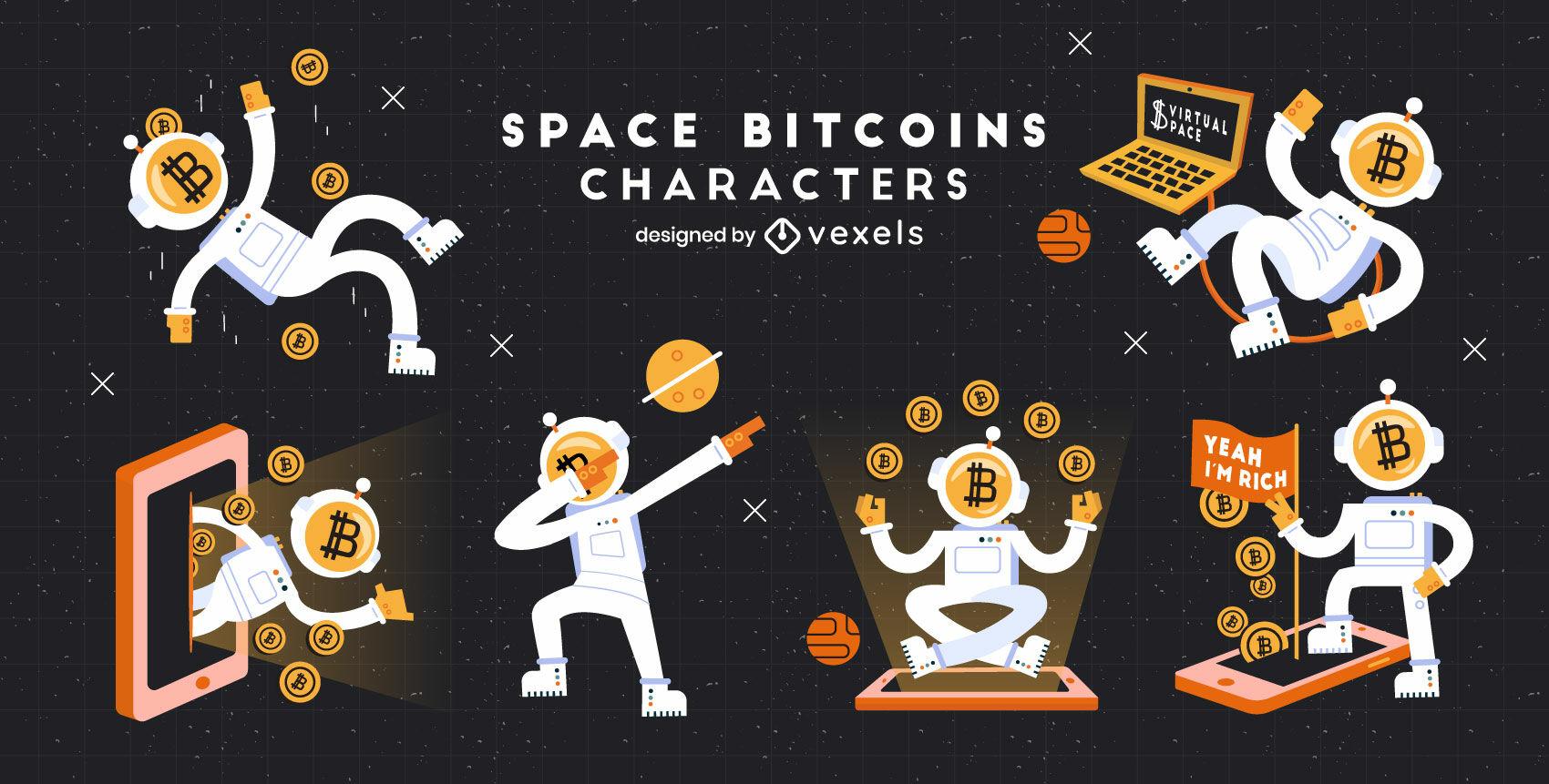 Conjunto de personajes de dibujos animados de bitcoin espacial