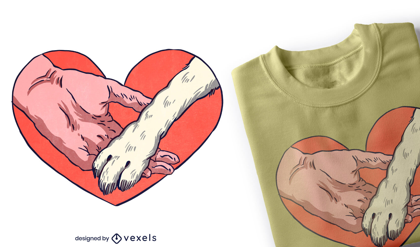 Animal paw and human hand in heart t-shirt design