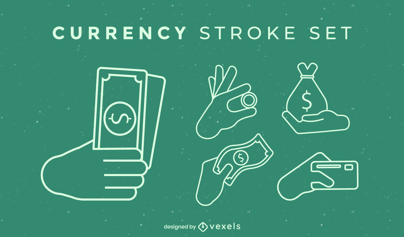 Hands and currency stroke set