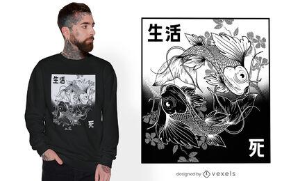 Diseño de camiseta dibujada a mano koi yin yang