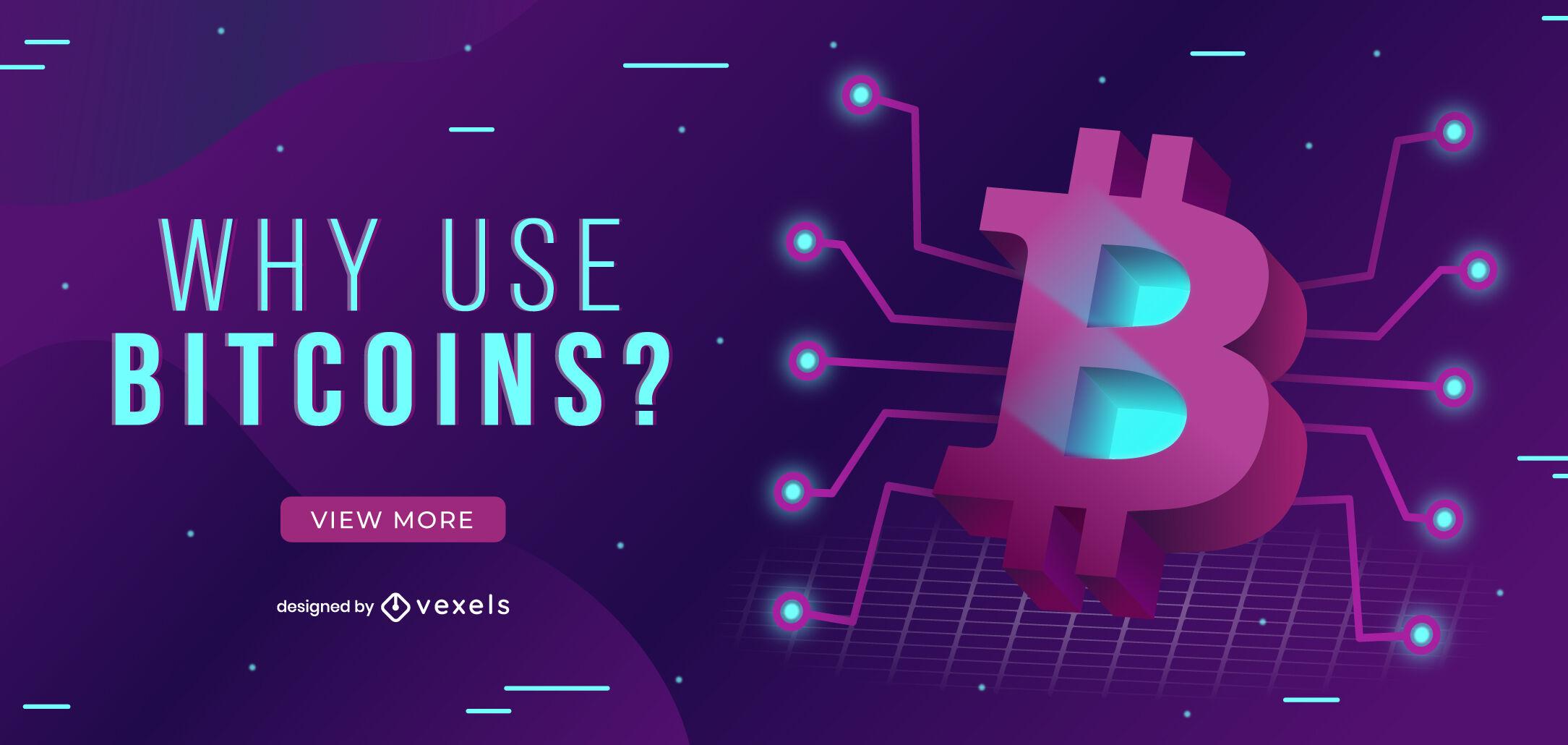 Bitcoin logo technological web slider