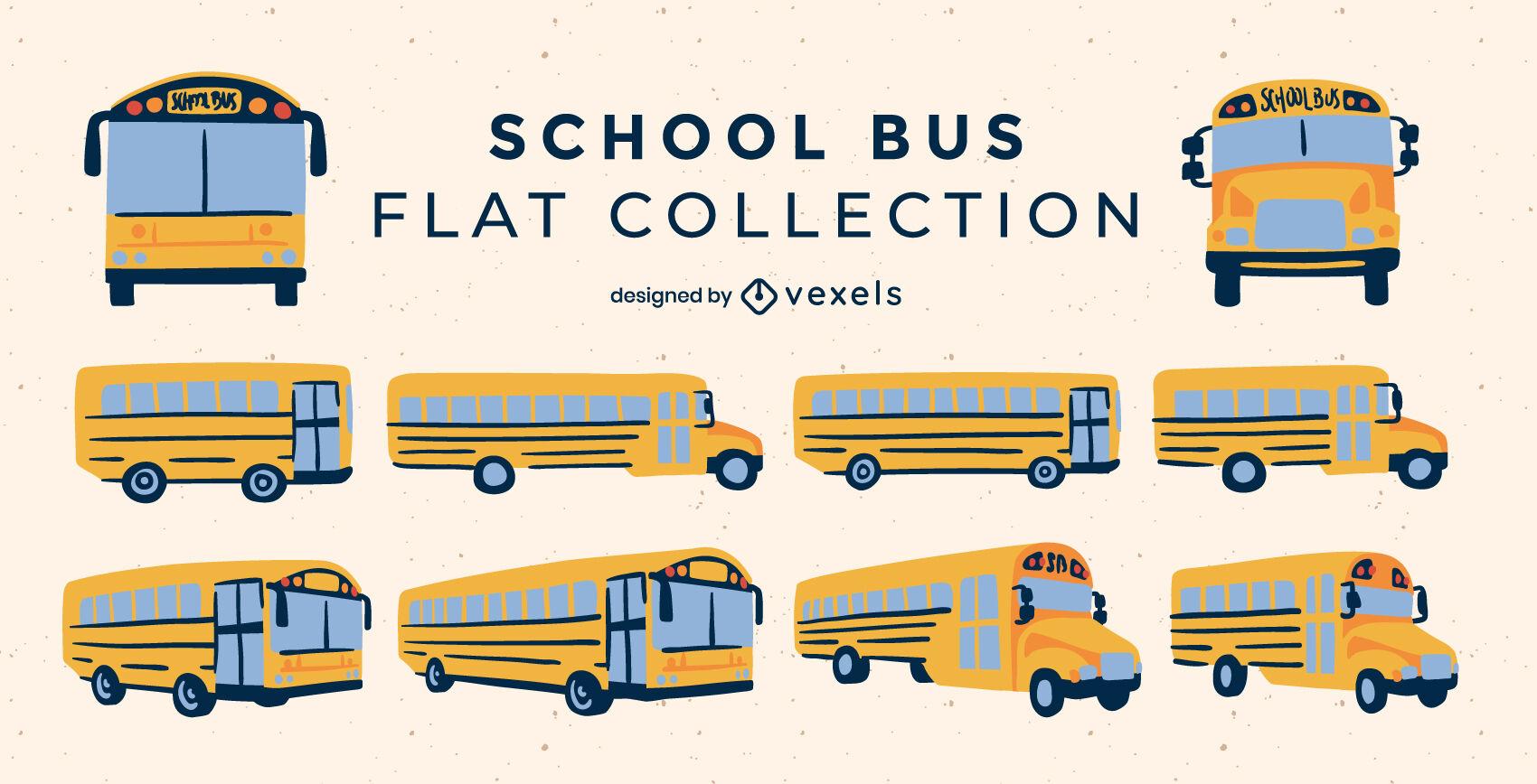 Conjunto de autobuses escolares planos.