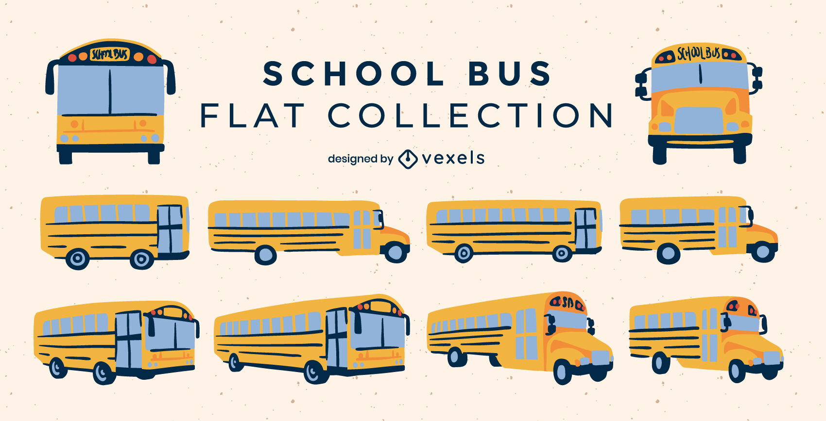 Set of flat school buses