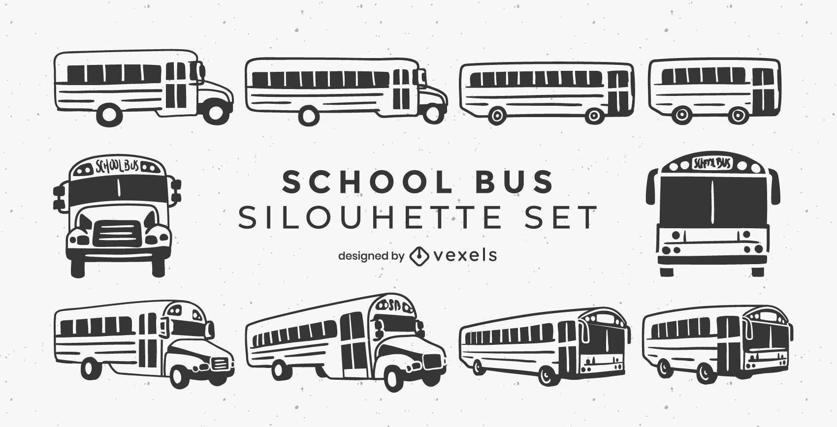 Conjunto de autobuses escolares de trazo lleno