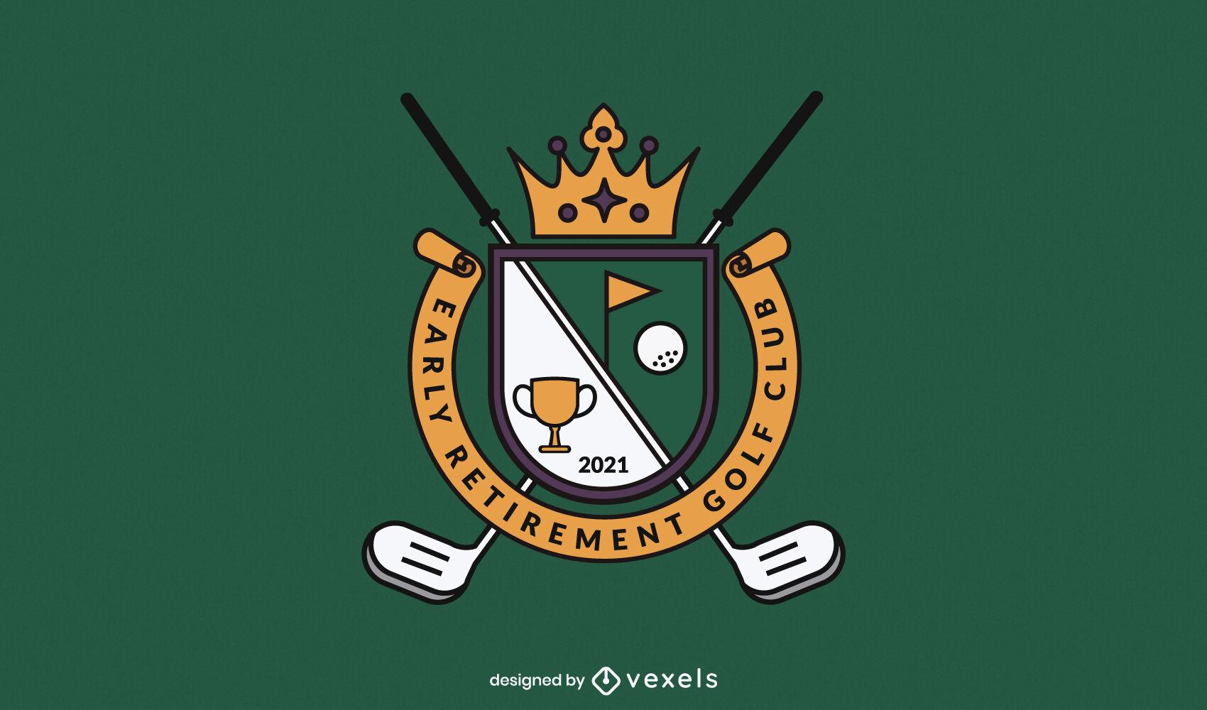 Design de logotipo comercial de equipamentos esportivos de golfe
