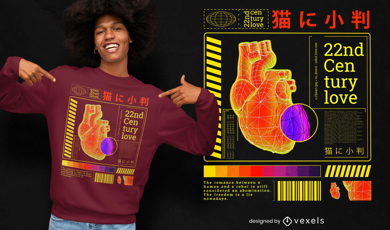 Modelo de camiseta futurista psd Vaporwave coração