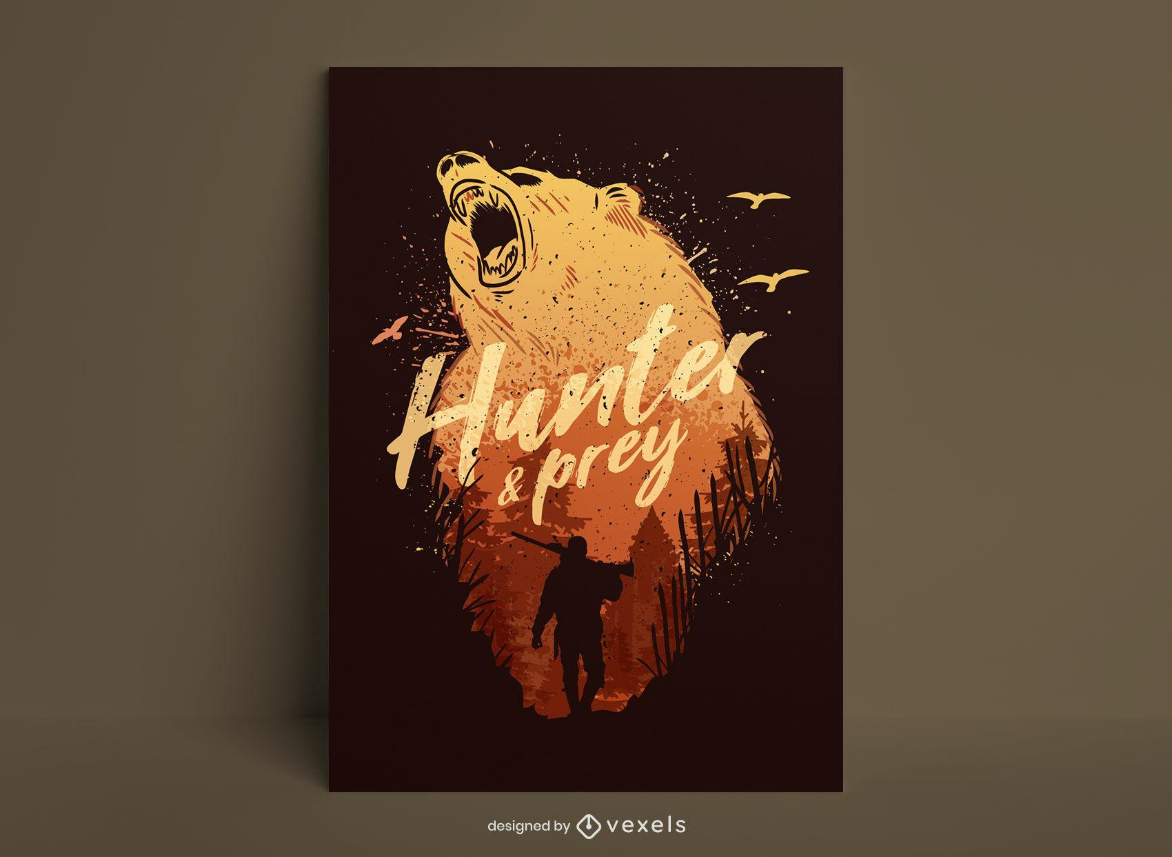 Bear animal hunter grunge poster design