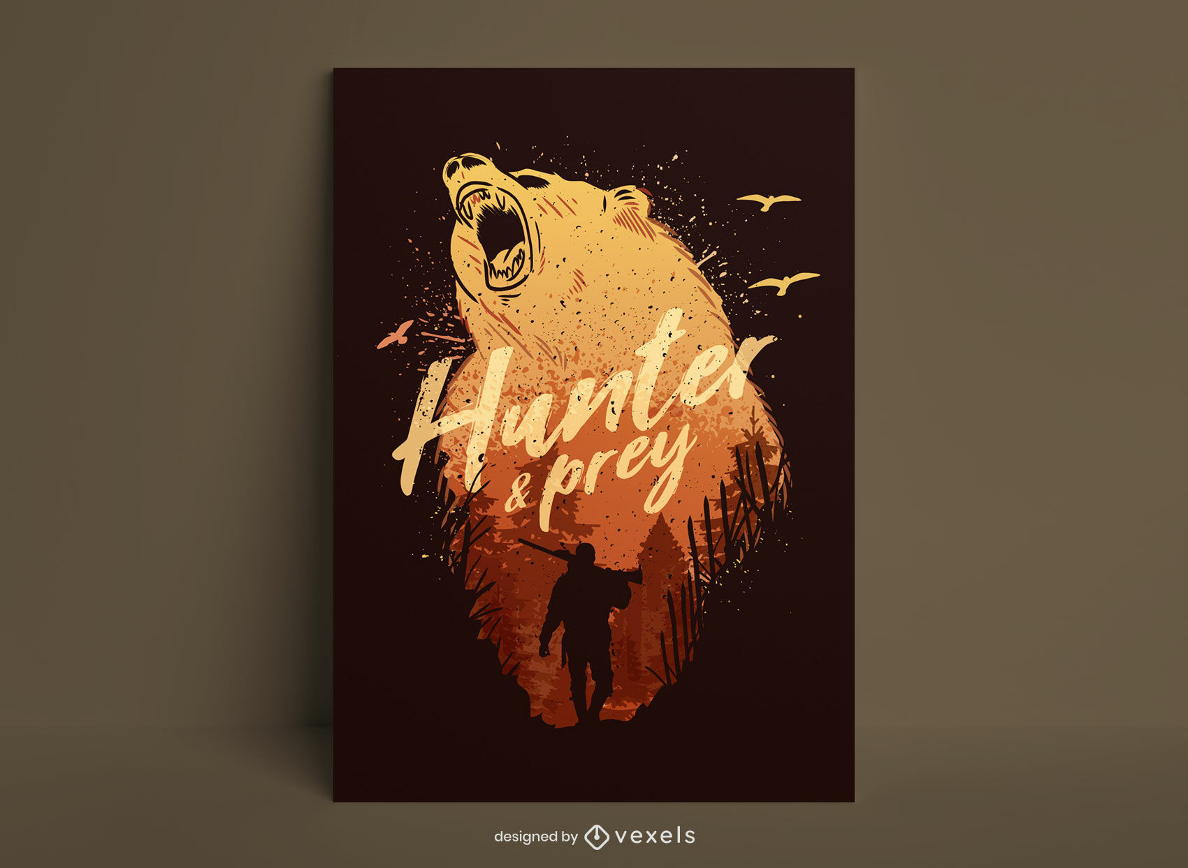 Diseño de cartel de grunge de oso animal hunter