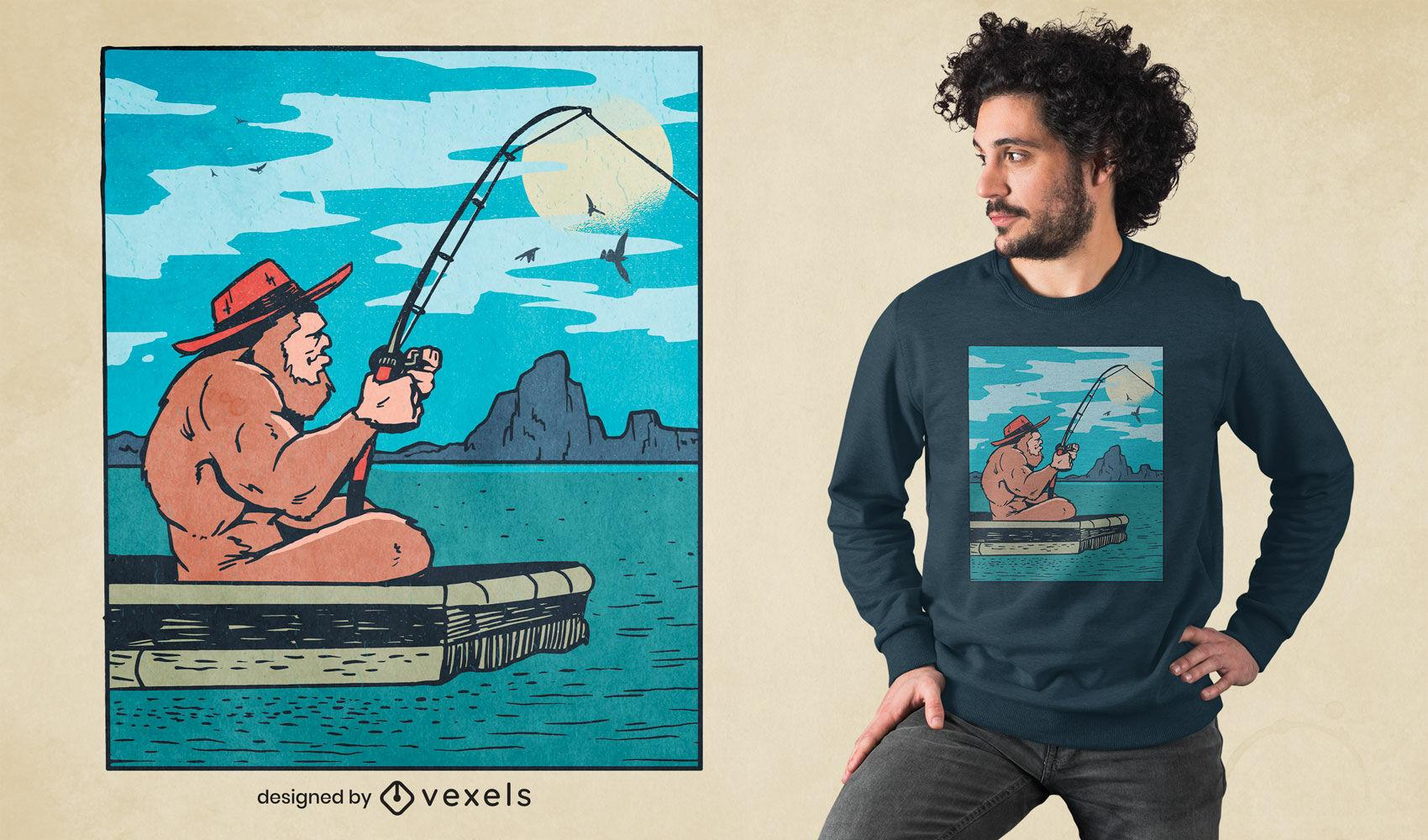 Diseño de camiseta de ilustración de pesca de Bigfoot
