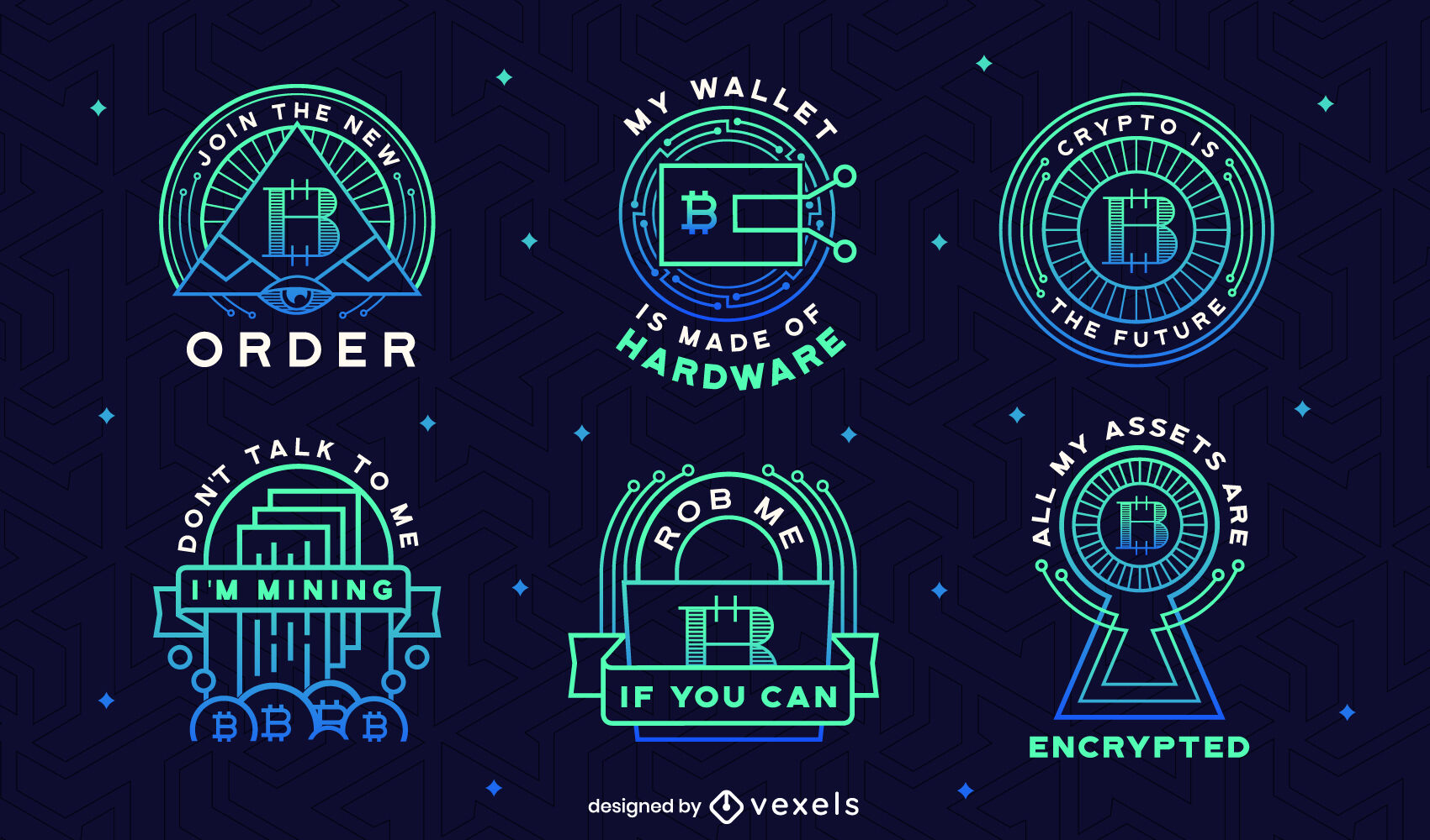 Conjunto de emblemas de gradiente Bitcoin