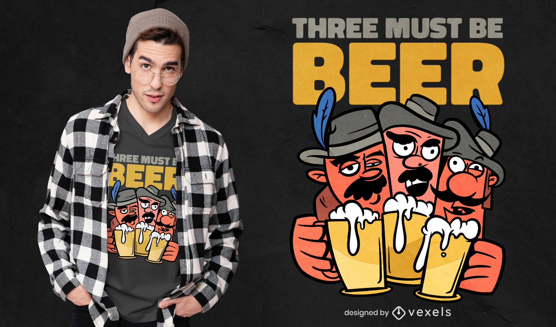 Dise?o de camiseta de cerveza tres mosqueteros.