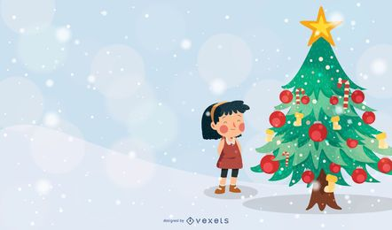 Christmas Tree Girl Vector Illustration