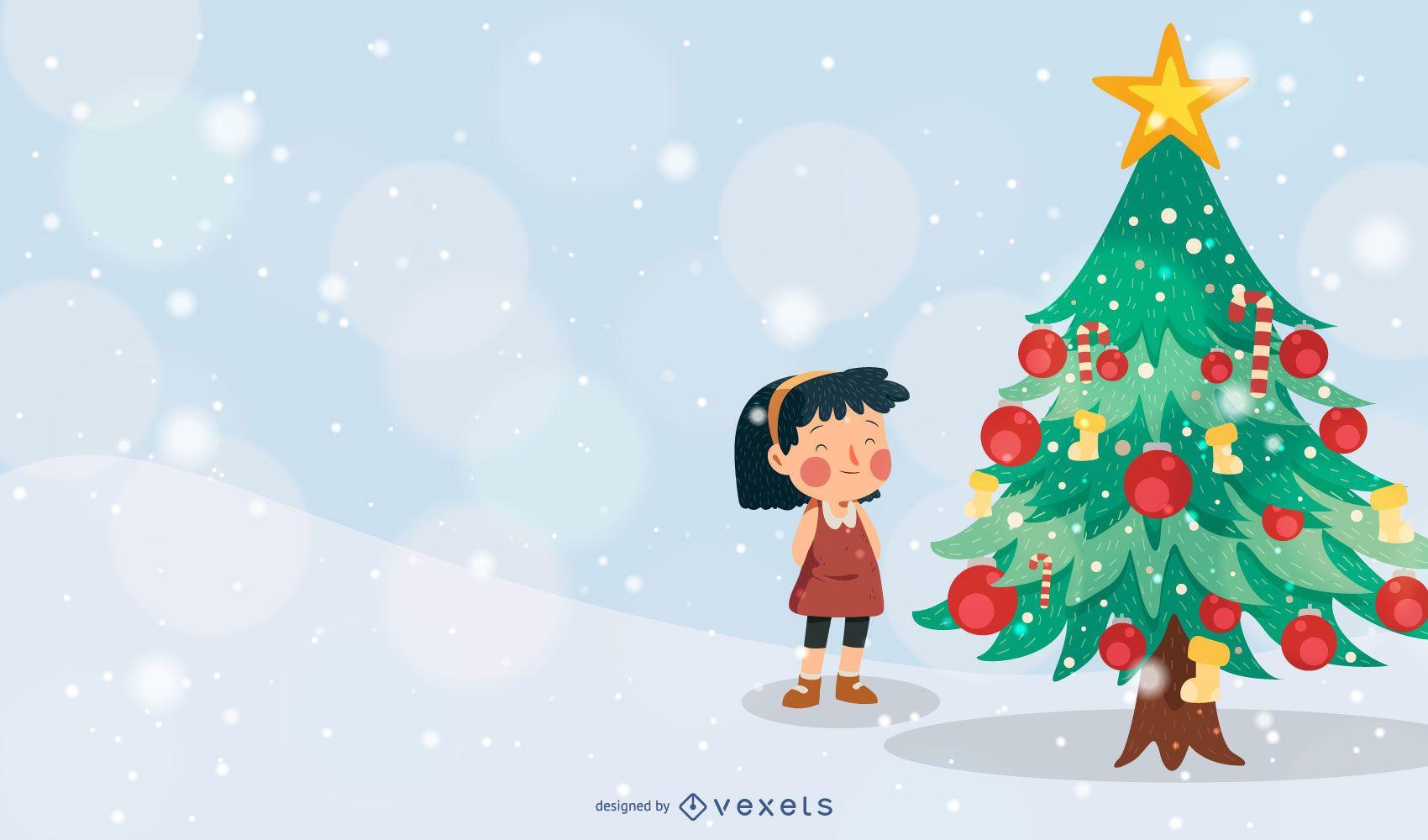 Ilustración de vector de niña de árbol de Navidad