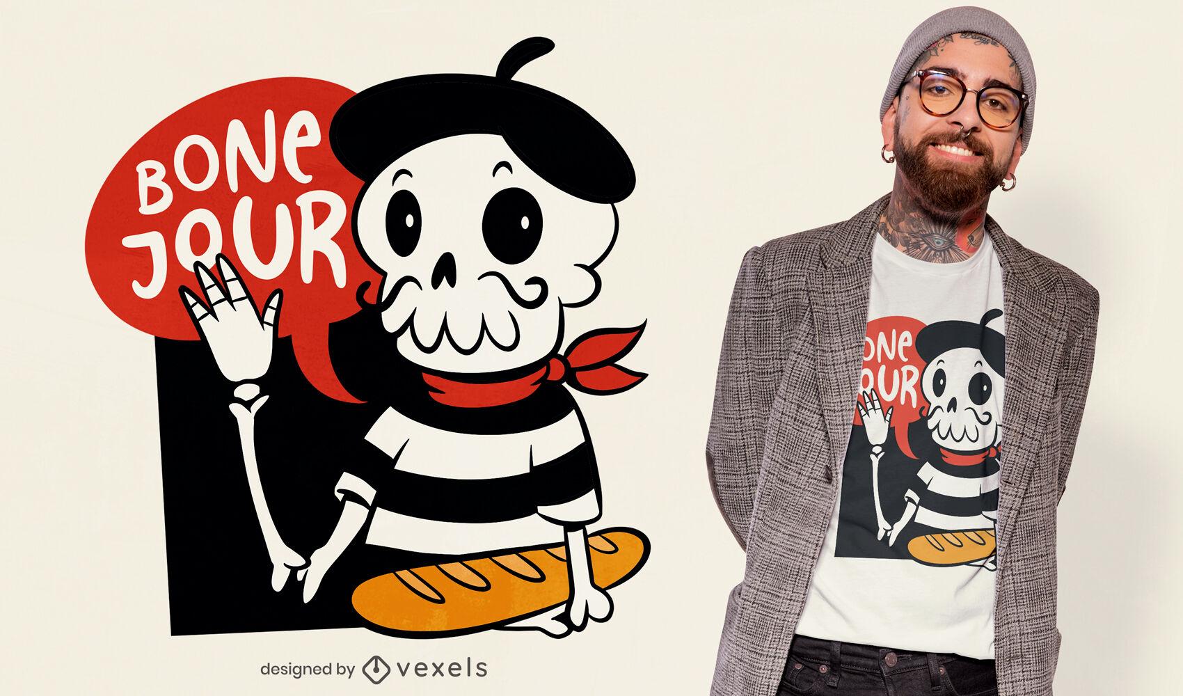 Diseño de camiseta de calavera francesa de dibujos animados