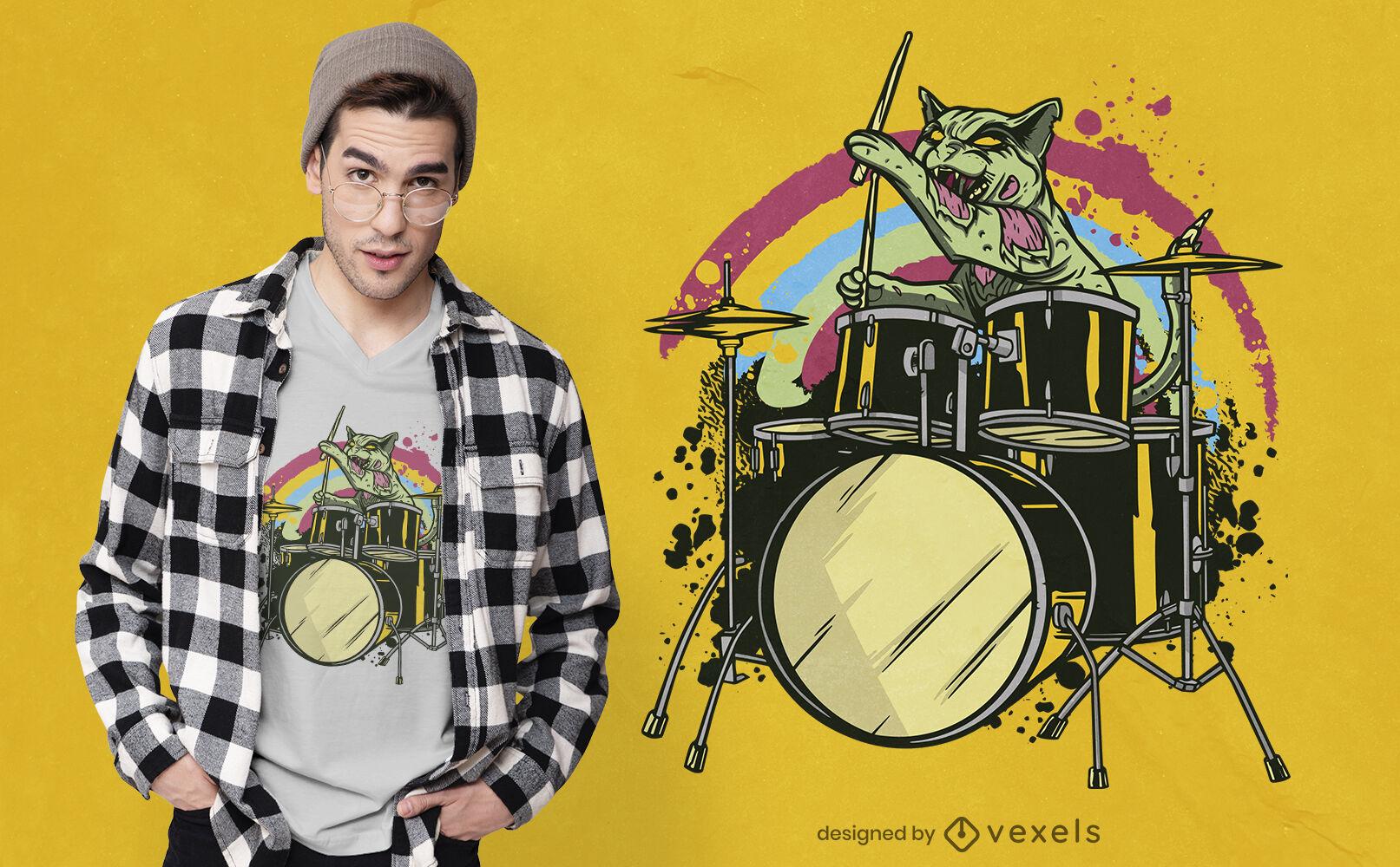 Design de camiseta de baterista gato zumbi