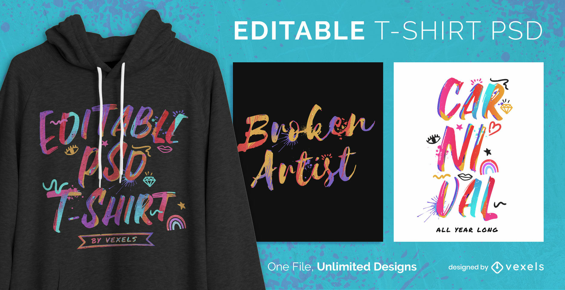 Watercolor lettering text editable t-shirt psd
