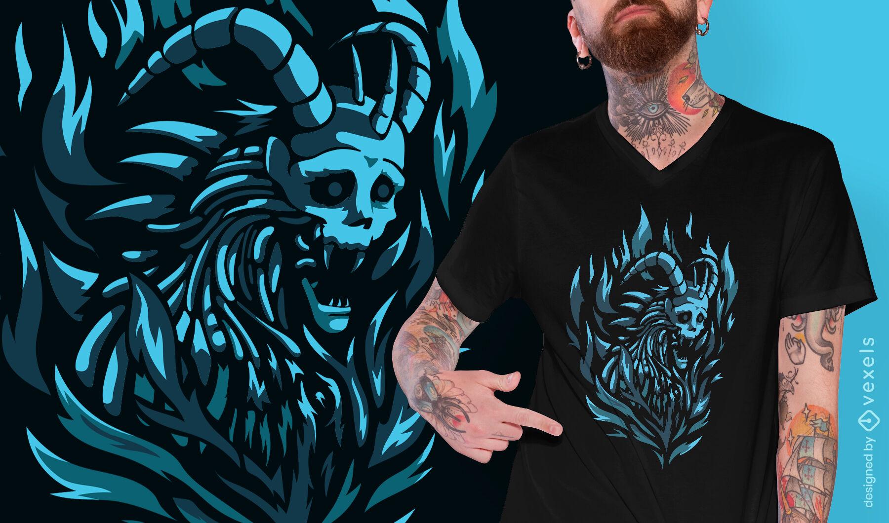 Design de camiseta de criatura escura esqueleto demônio