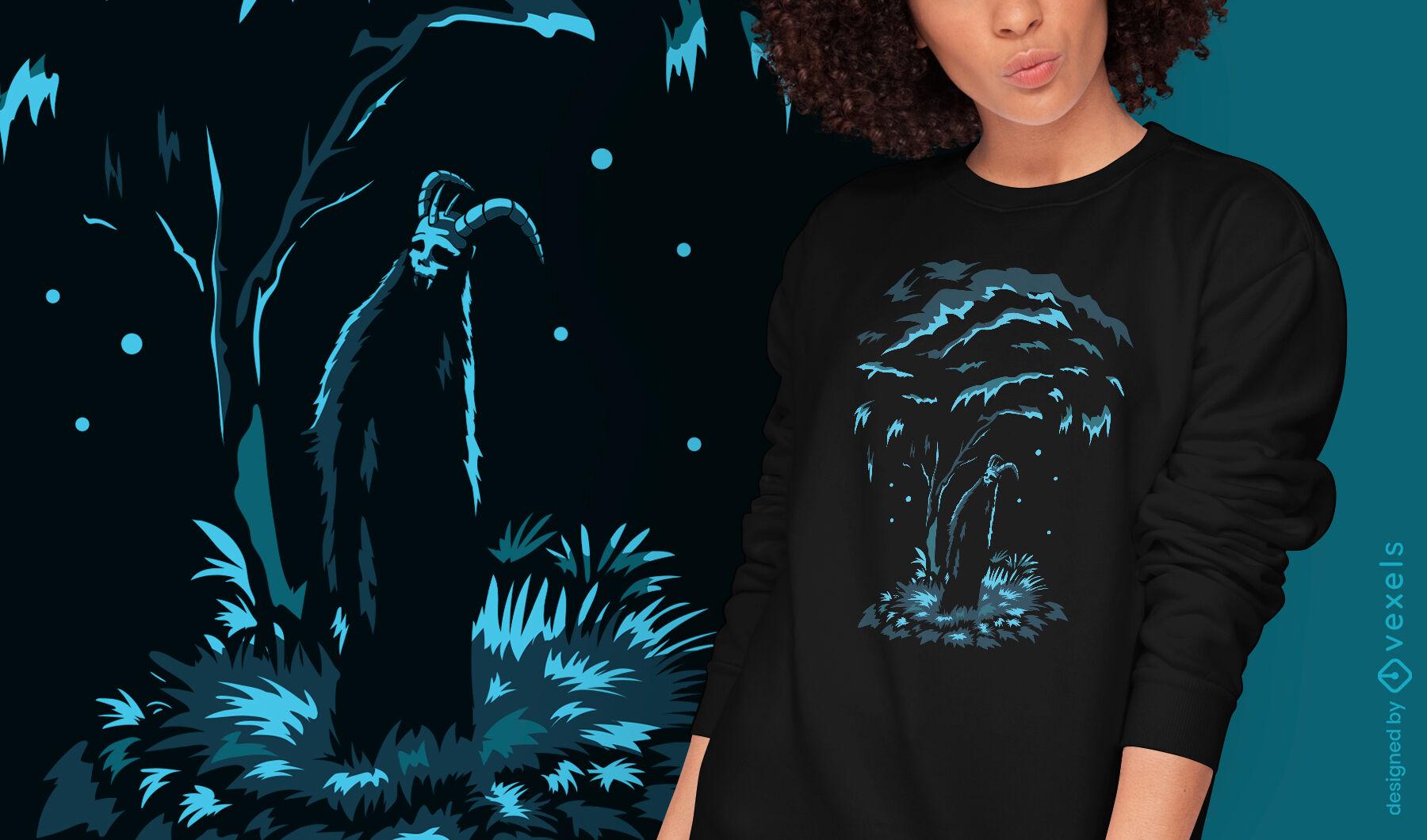 Diseño de camiseta de demonio de naturaleza de criatura oscura.