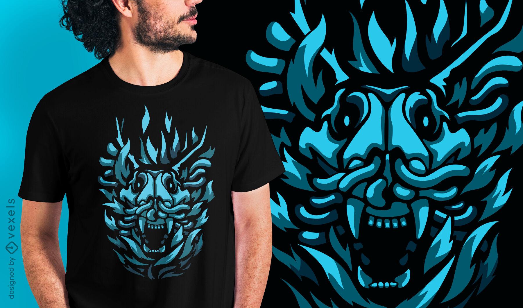 Criatura negra demônio design de t-shirt com cabeça de animal