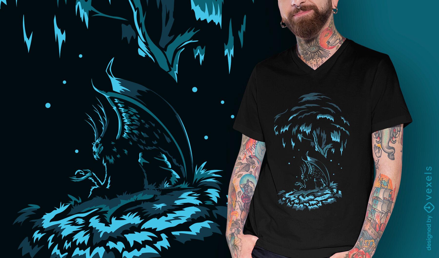 Diseño de camiseta de alas de demonio de criatura oscura.