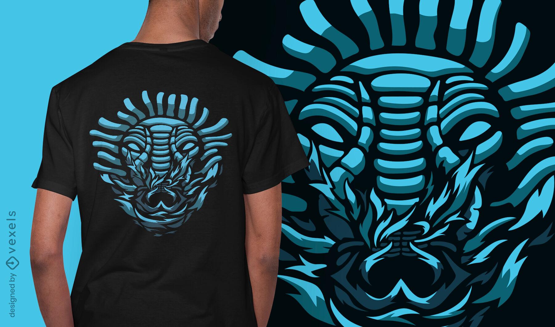 Diseño de camiseta de máscara de demonio de criatura oscura.