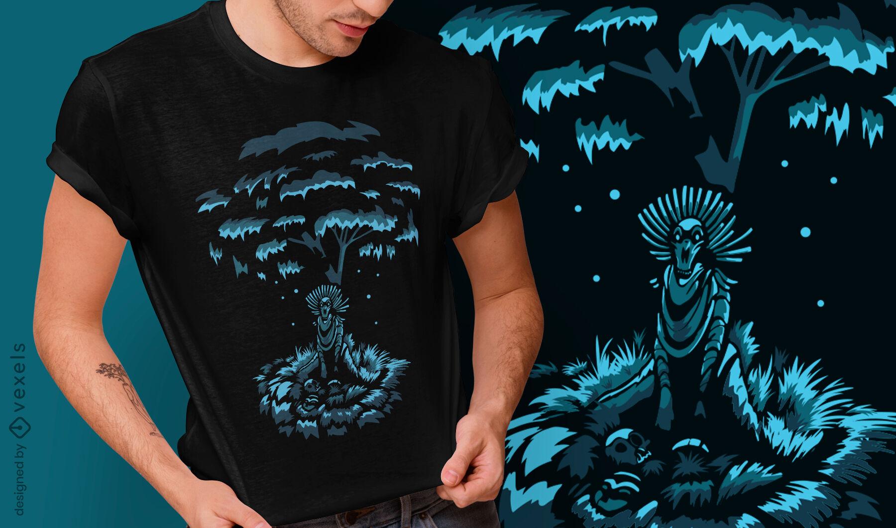 Design de t-shirt do demônio assustador de criatura escura