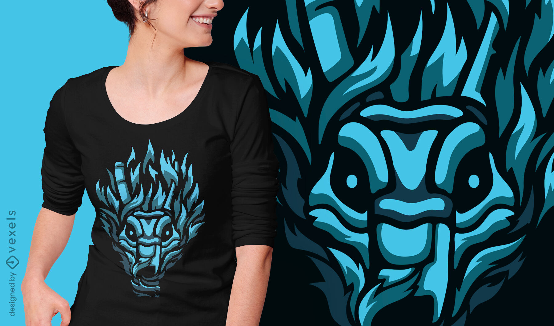 Diseño de camiseta con cara de demonio criatura oscura.