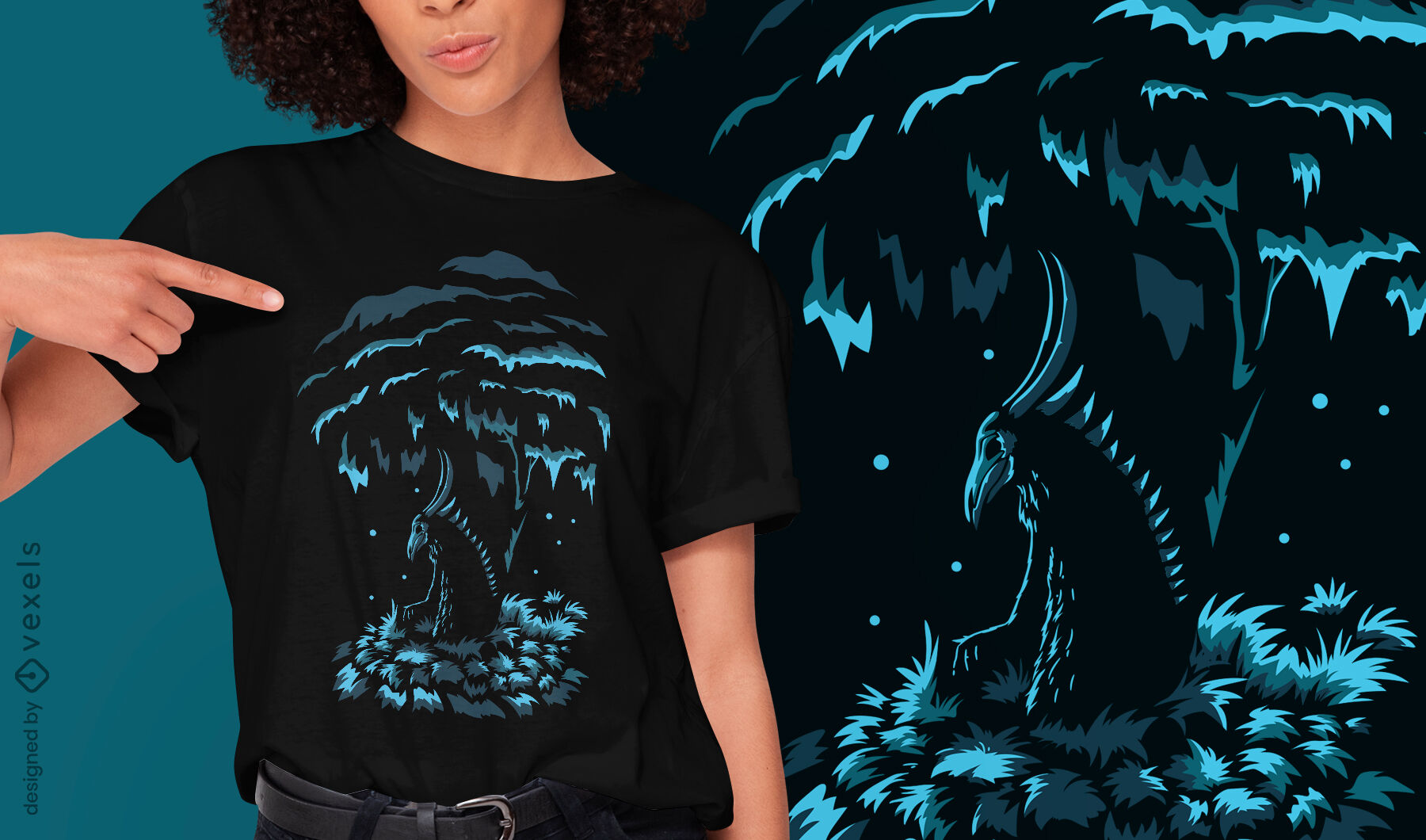 Diseño de camiseta de cuernos de demonio de criatura oscura.