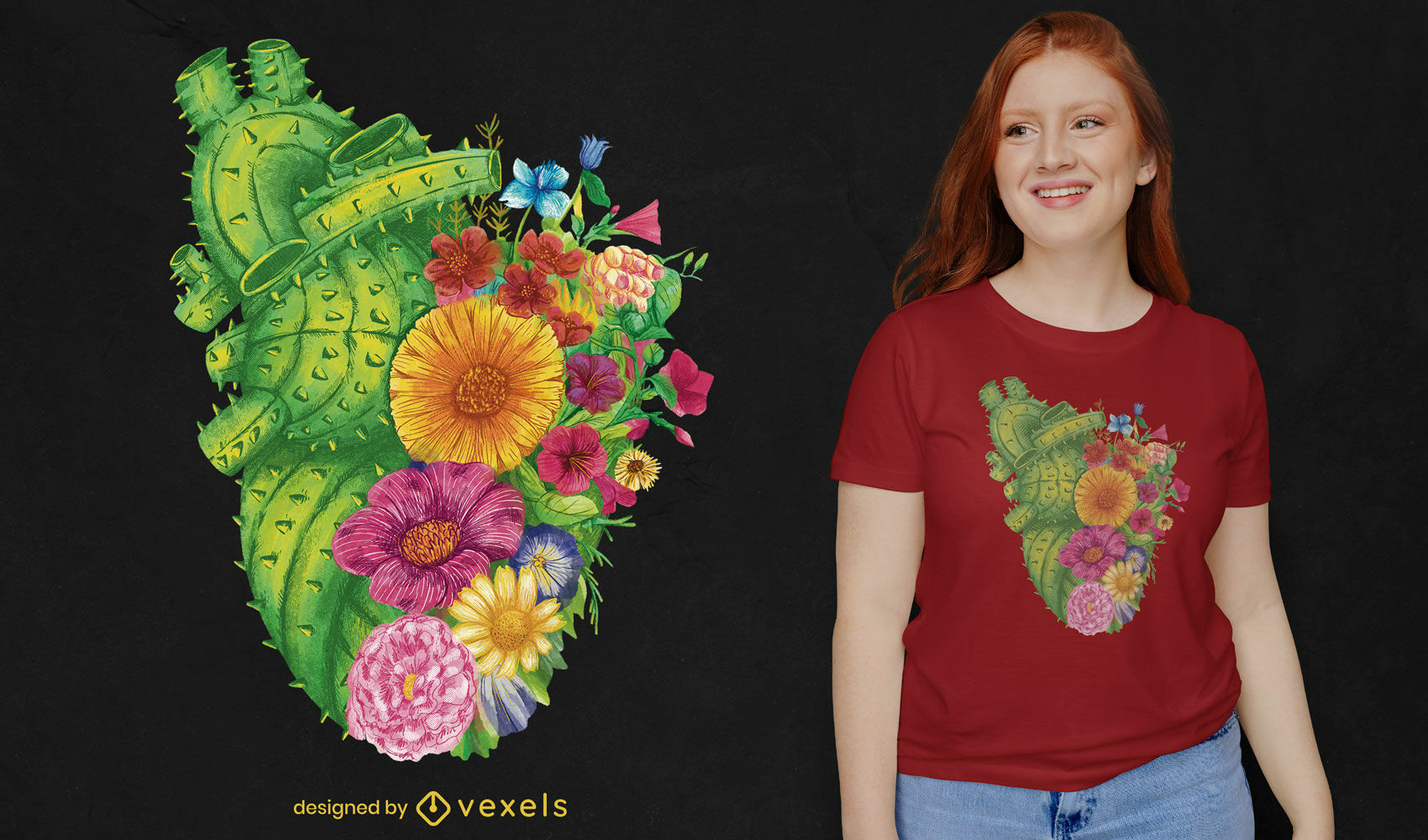 Heart shaped cactus and flowers t-shirt psd