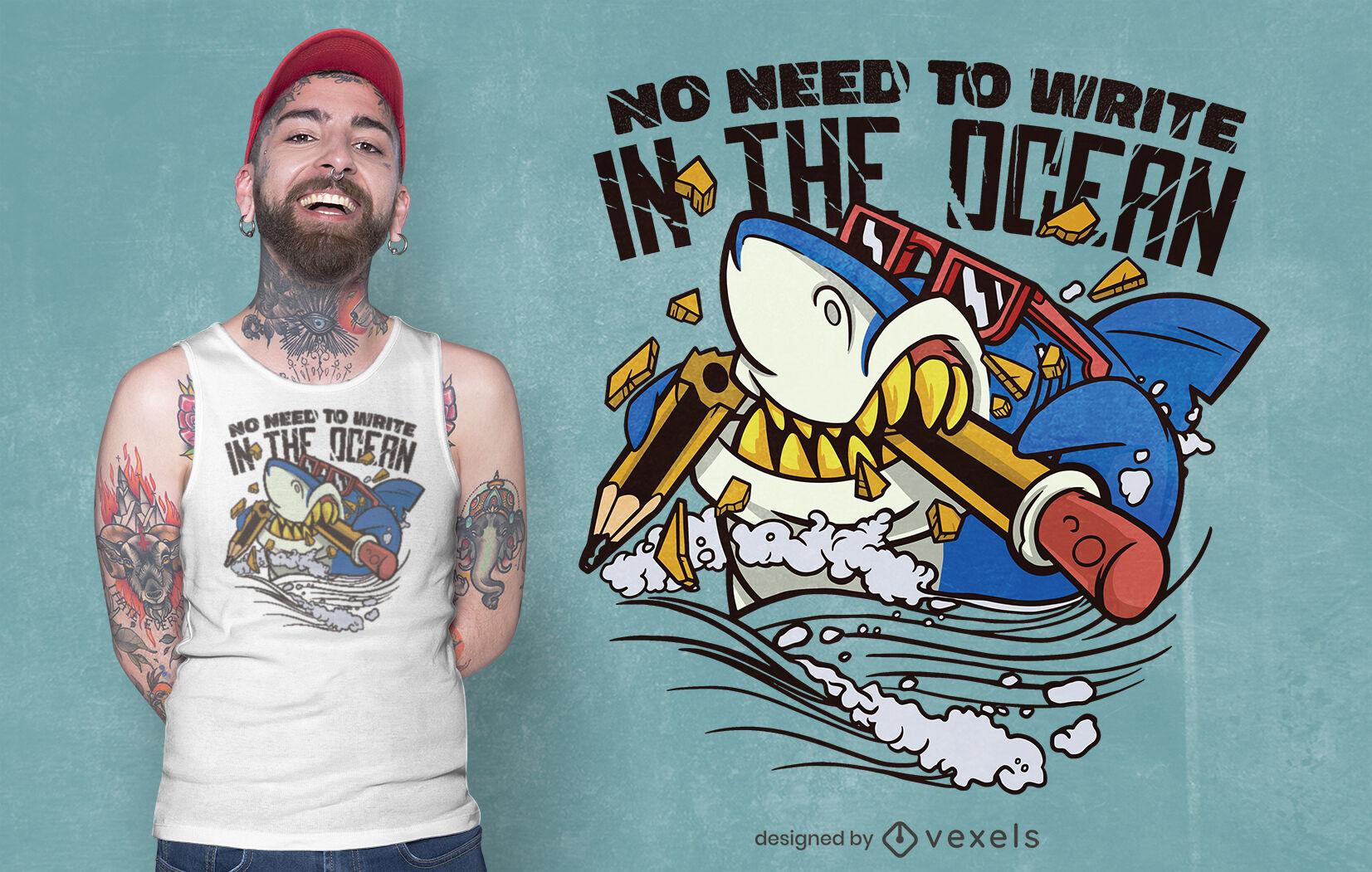 Diseño de camiseta de dibujos animados de tiburón comiendo lápiz