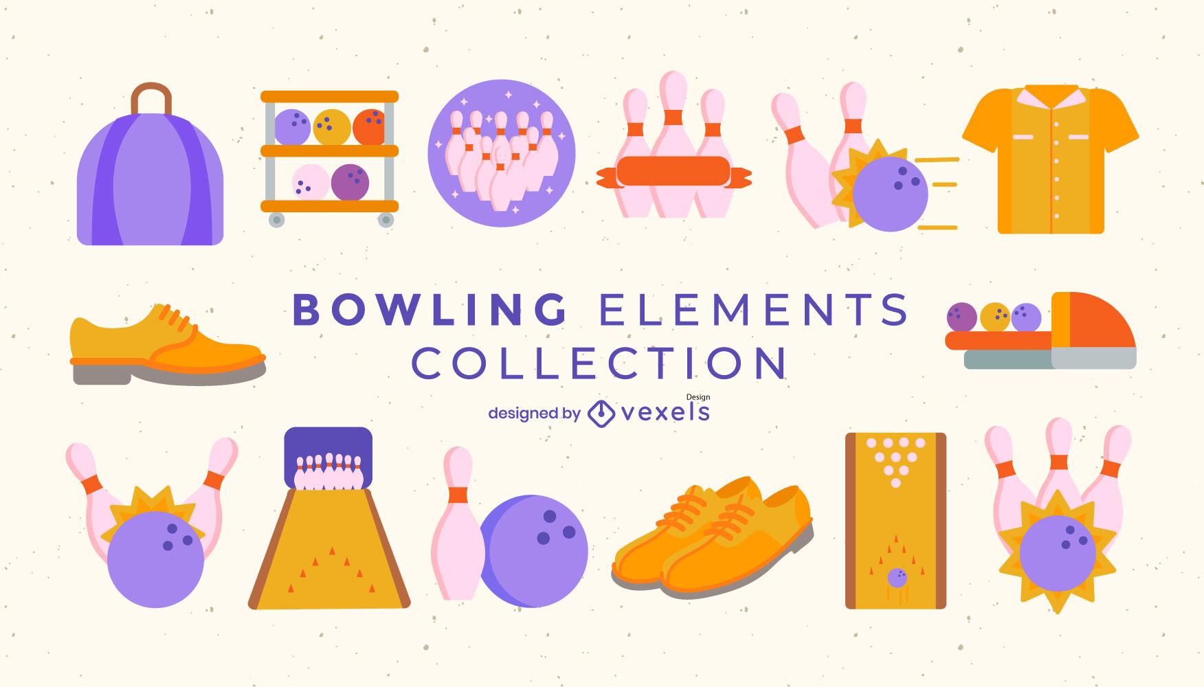 Conjunto semi plano de elementos de bolos