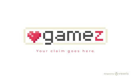 Pixel art heart gaming logo