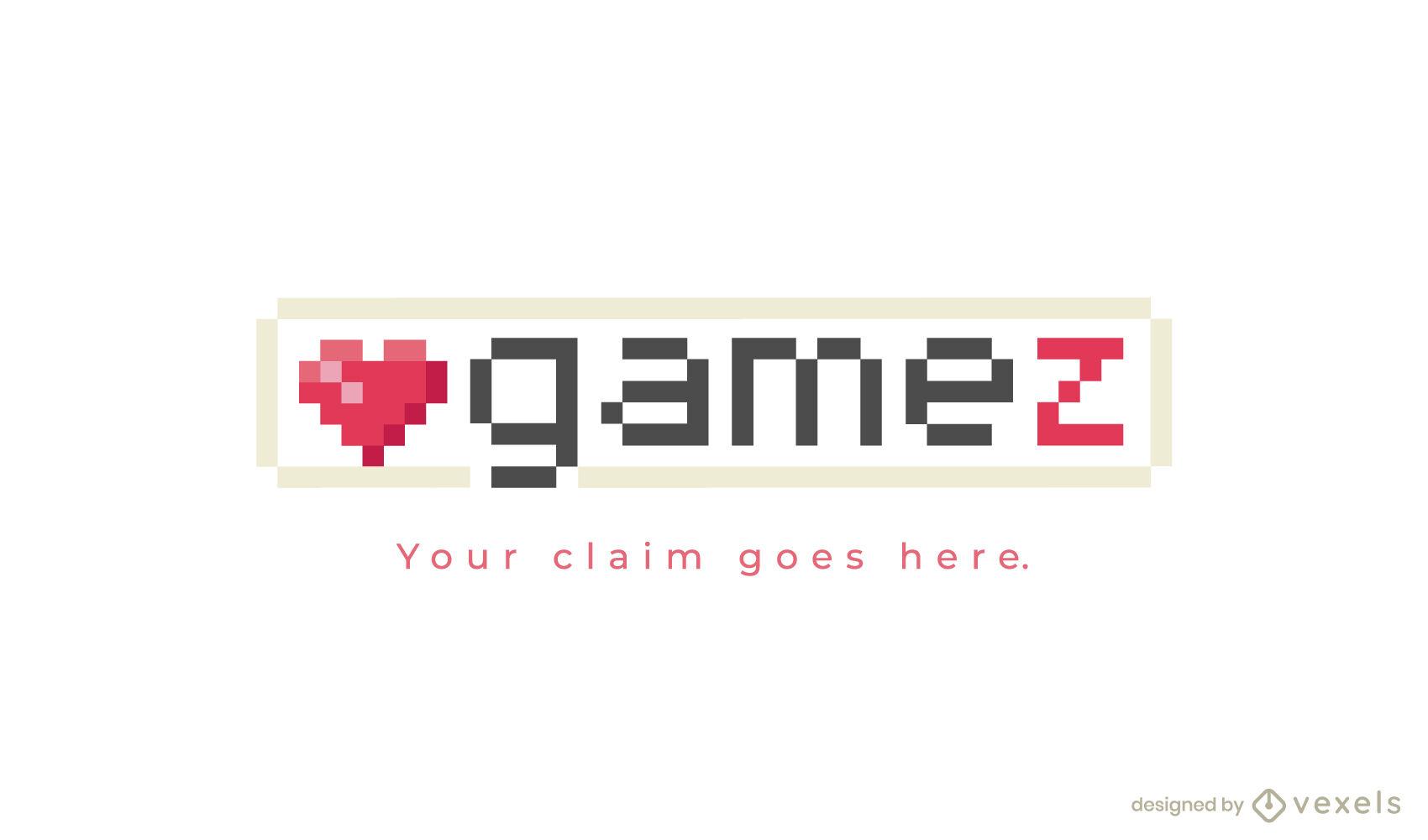 Logotipo de pixel art heart gaming