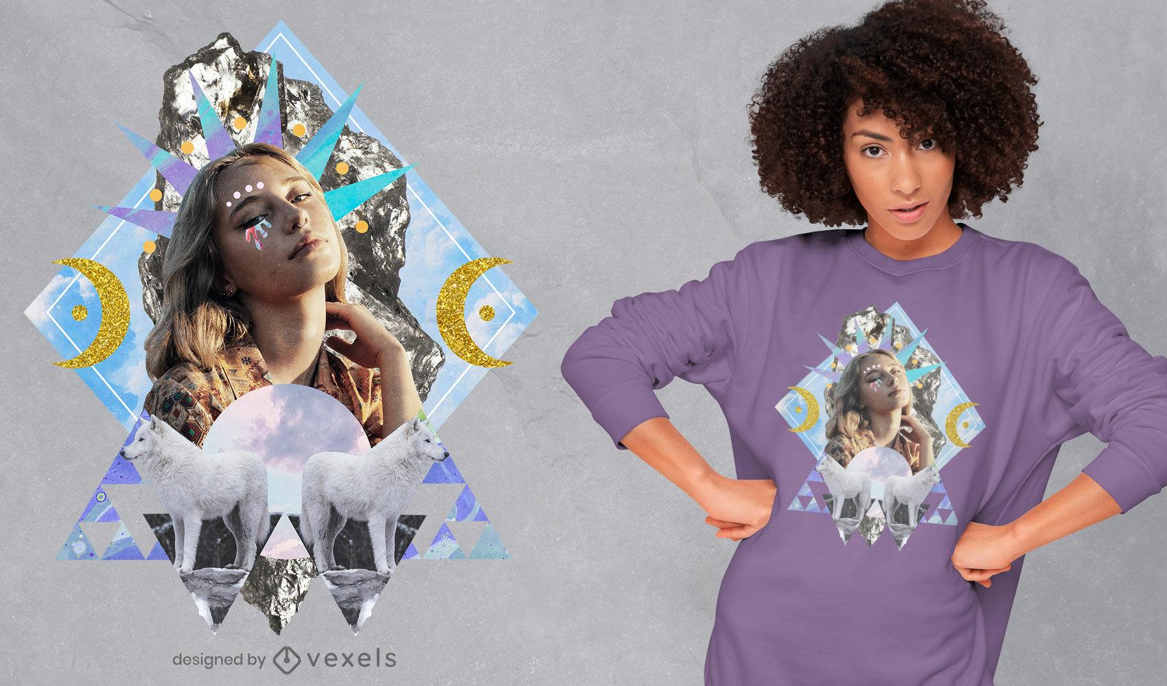 T-shirt de colagem de fantasia mística psd