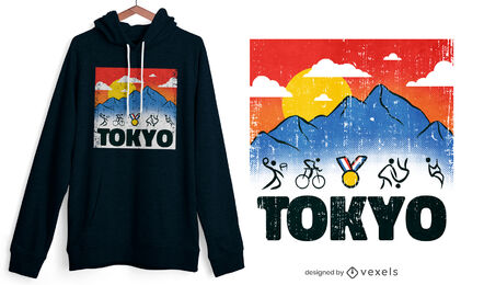 Tokyo olympics stick figures t-shirt design