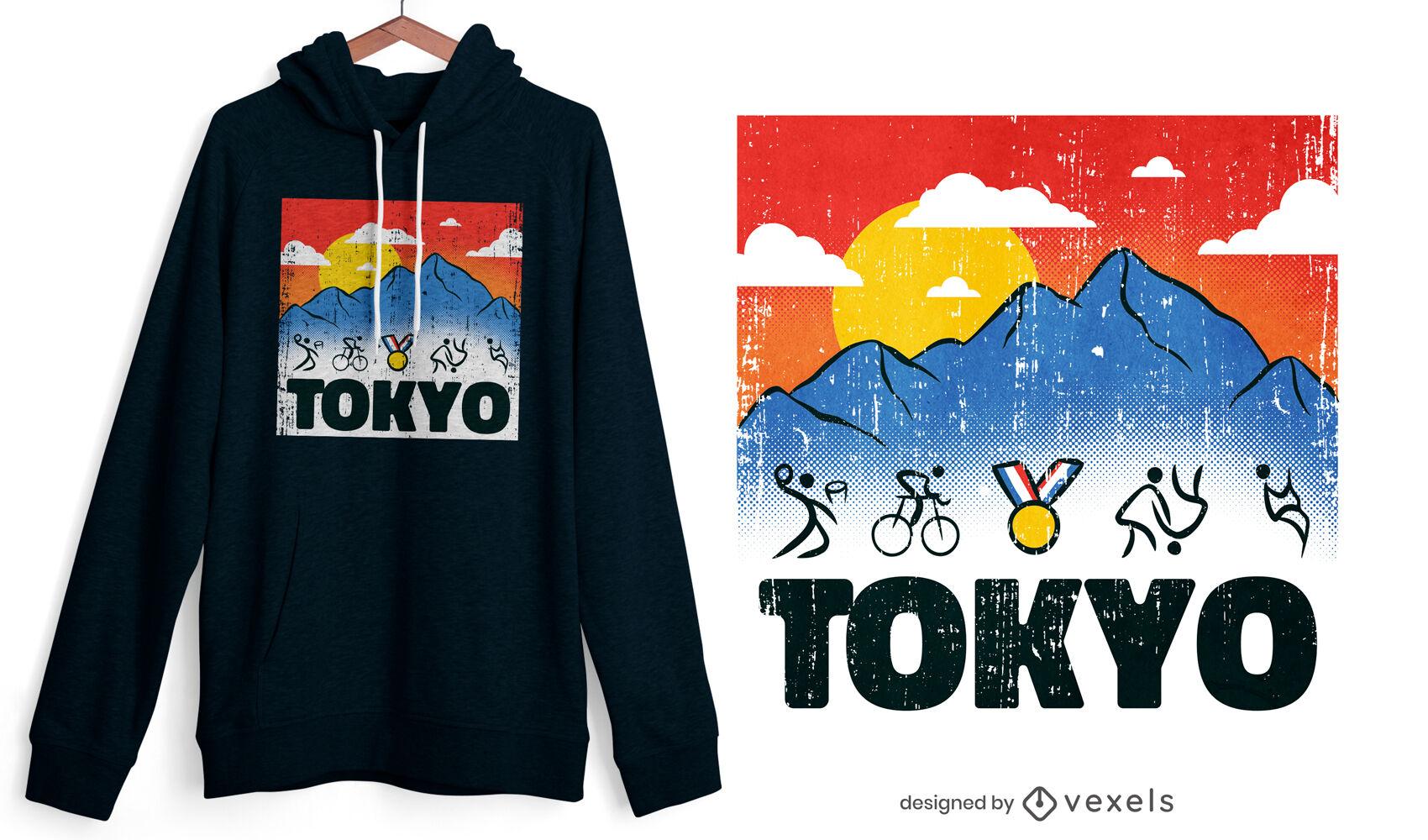 Diseño de camiseta de figuras de palo de los Juegos Olímpicos de Tokio
