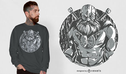 Monochromatic viking warrior t-shirt design