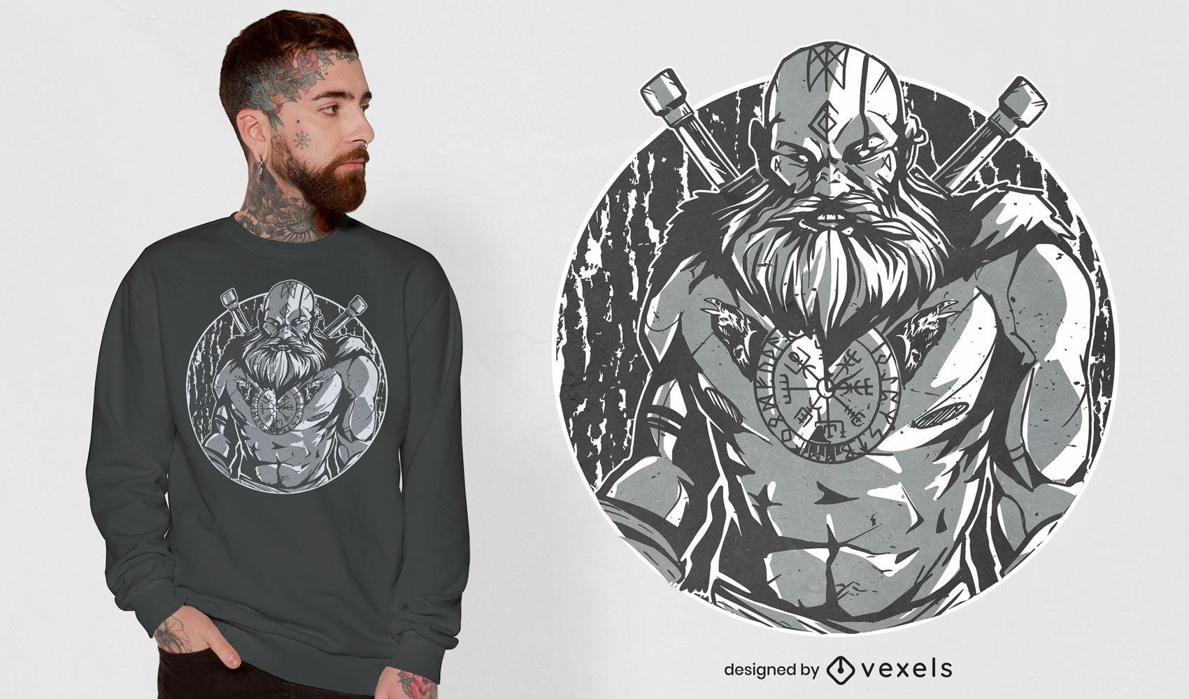 Diseño de camiseta de guerrero vikingo monocromático.