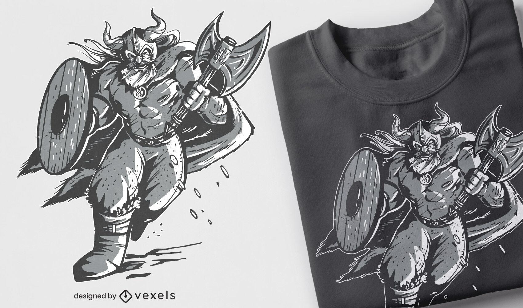 Monochromatic viking warrior running t-shirt design