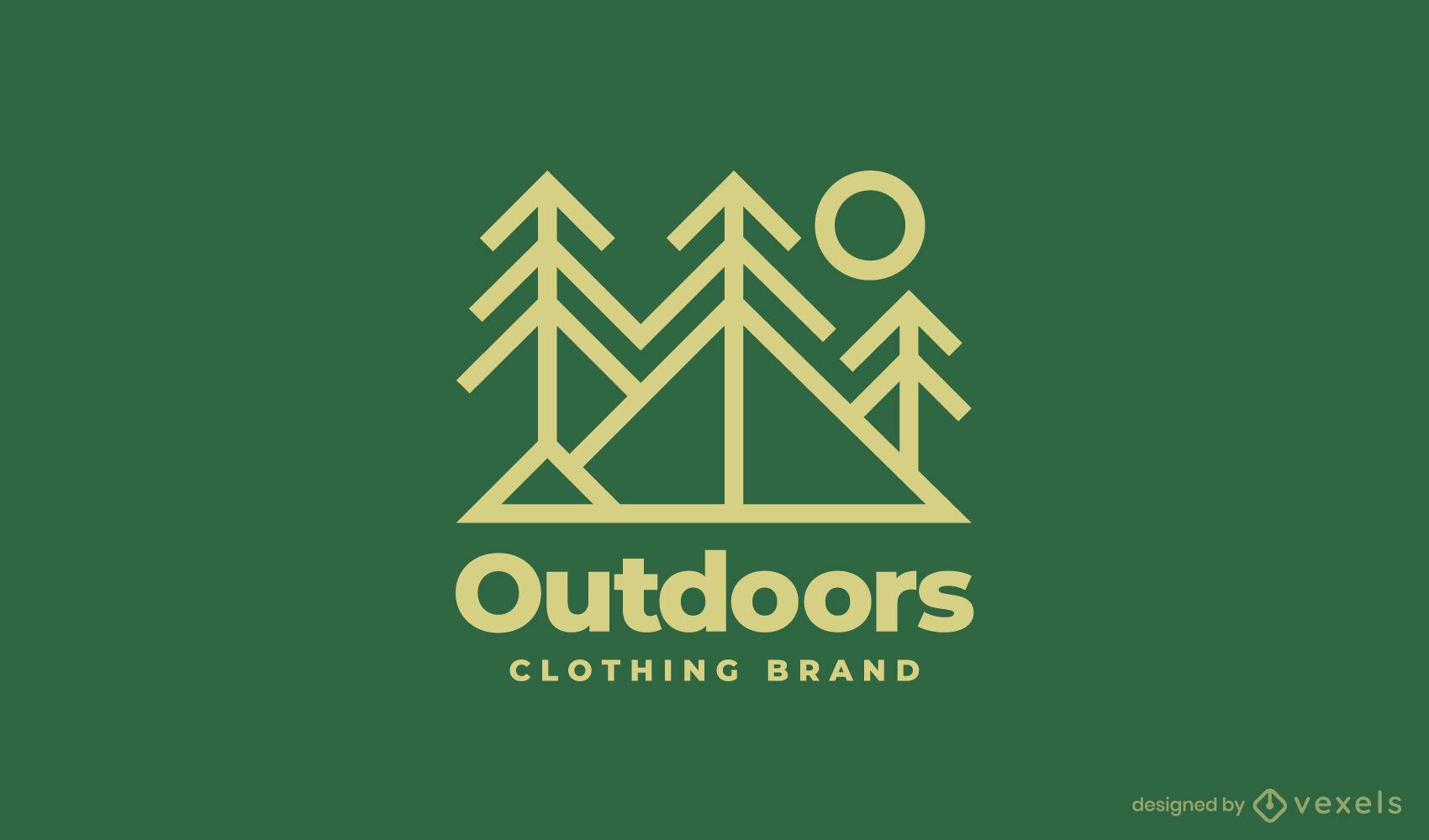 Modelo de logotipo de montanhas e árvores