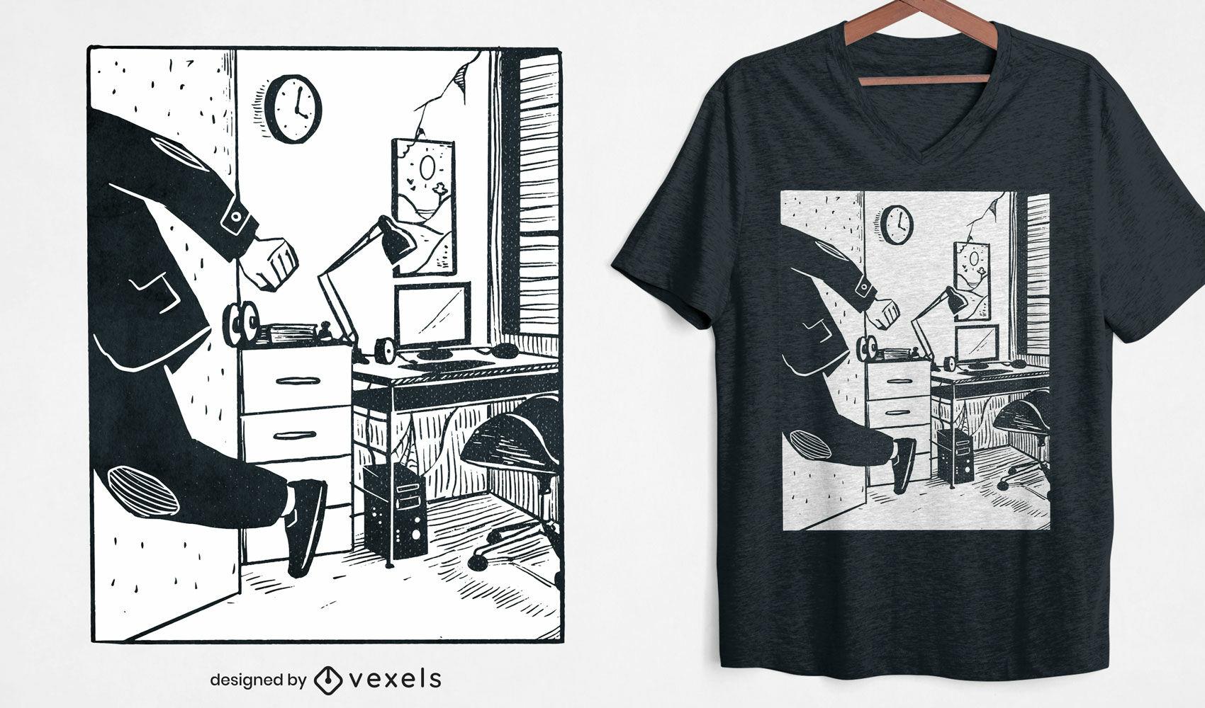 Diseño de camiseta de escape de oficina.