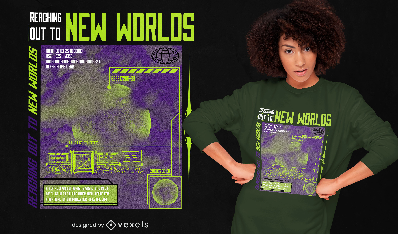Camiseta con cita espacial del planeta del nuevo mundo psd