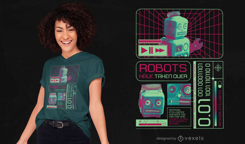 Robot machine technological t-shirt psd