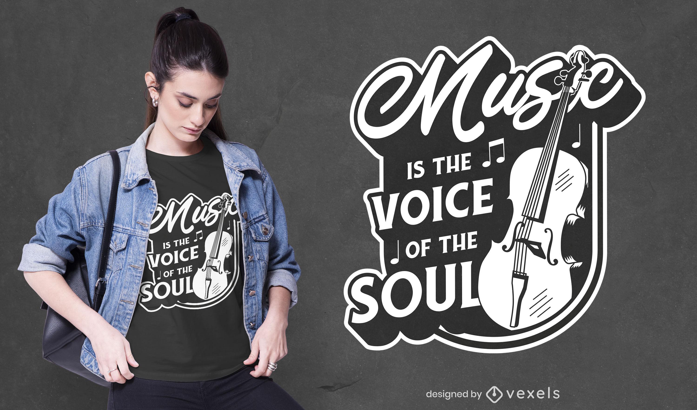 Diseño de camiseta de instrumento musical de violonchelo.