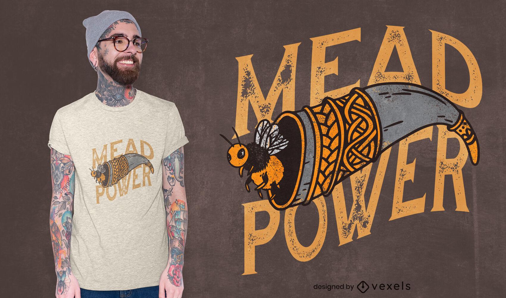 Diseño de camiseta con textura Mead Power