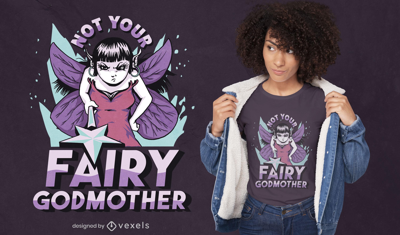 Diseño de camiseta de fantasía de hada madrina enojada