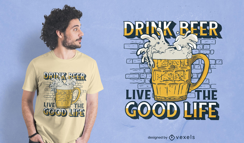 Diseño de camiseta de cita de bebida alcohólica de cerveza.