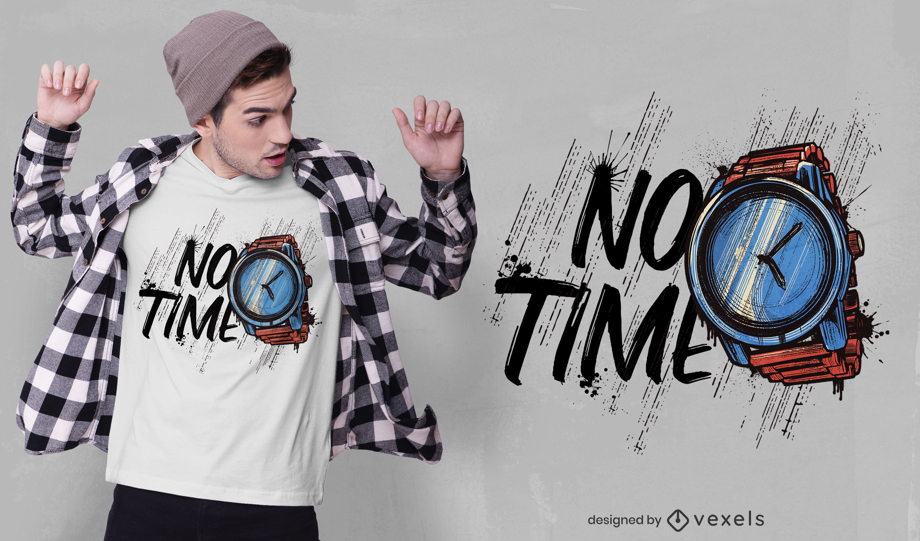Watch time quote grunge t-shirt design