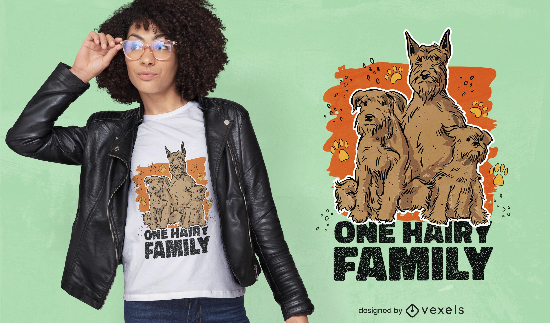 Diseño de camiseta animal lindo de la familia del perro peludo